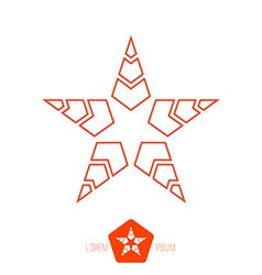 minimal red monochrome vintage star made of thin vector image