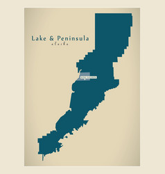 Modern map - lake and peninsula alaska county usa vector
