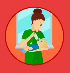 Mother holding and feeding baby with milk bottle vector
