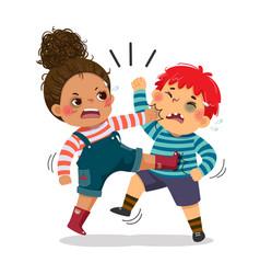 Naughty boy and girl fighting vector