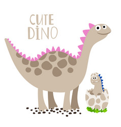 newborn dino with his mother vector image