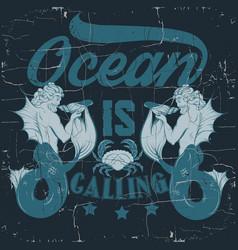 Ocean is calling quote typographical background vector