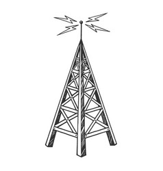 Old radio tower sketch engraving vector