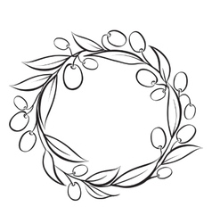Olive wreath frame vector