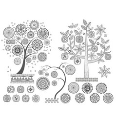Ornament treesthe leaves and ornamental circles vector