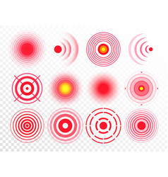 Pain circles red painful target spot targeting vector