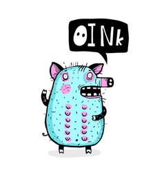 Piggy talking oink funny cartoon vector