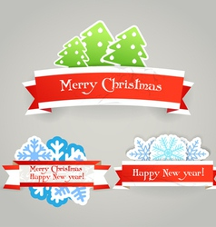 Polygonal vintage origami Christmas banners vector image