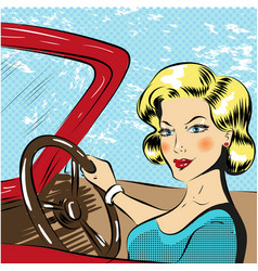 pop art woman driving red vector image