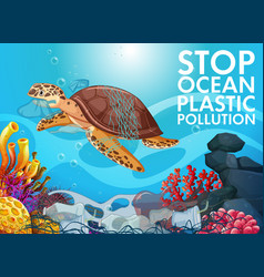 Poster design with sea turtle and trash in ocean vector
