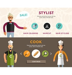 Profession Concept Stylist and Cook Flat Design vector