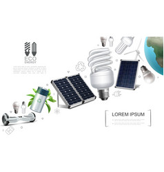 realistic save energy elements composition vector image