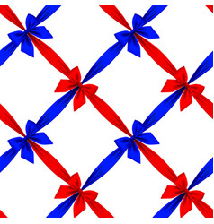 Red and blue ribbons and bows grid seamless vector