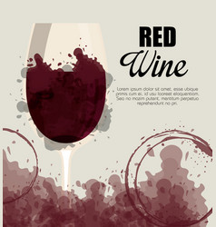 Red wine cup label vector