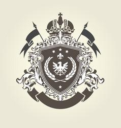 Royal coat arms - heraldic blazon with crown vector
