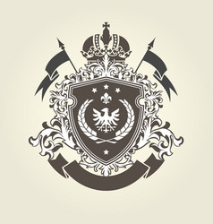Royal coat of arms - heraldic blazon with crown vector