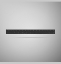 Ruler icon on grey background straightedge symbol vector