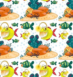 Seamless background with fish underwater vector