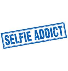 selfie addict square stamp vector image