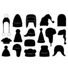 set different winter hats vector image