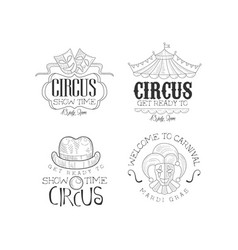 Set of sketch style emblems for circus and vector