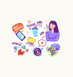 set stickers or icons in doodle linear style vector image