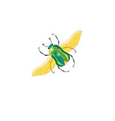 sign green beetle in flight vector image