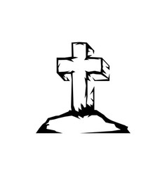 sketch cross stands on a mountain as a symbol vector image