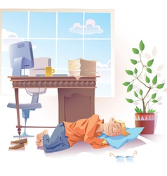 Sleeping at Office vector