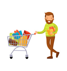 smiling man with shopping cart full of purchases vector image