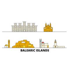 spain balearis islands flat landmarks vector image