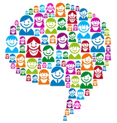 speech bubble with people icons vector image