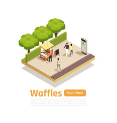 street carts trucks isometric isolated composition vector image