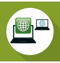 Technology design social media icon laptop vector