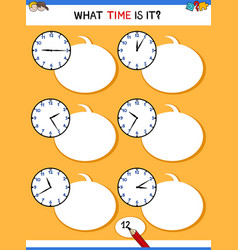 Telling time with clock educational activity vector