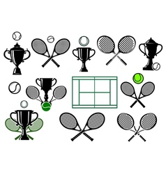 Tennis tournament icons vector