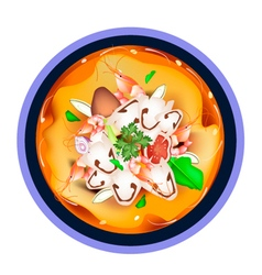 Tom Yum Goong or Thai Sour Soup with Prawns vector