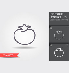 tomato line icon with editable stroke with shadow vector image