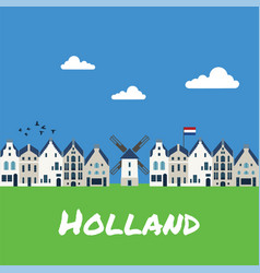 Traditional dutch houses and mills vector