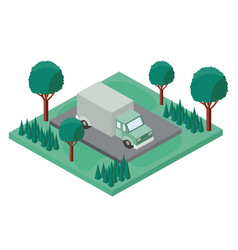 truck parking and trees scene isometric icon vector image