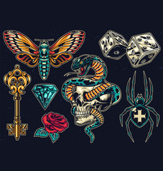 Vintage colorful tattoos set vector