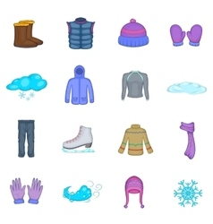 Winter clothes icons set cartoon style vector