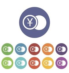 Yen coin flat icon vector