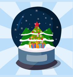 Snow clobe christmas magic ball transparent vector