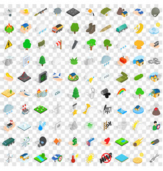 100 fire icons set isometric 3d style vector