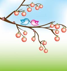 bird on apple tree vector image vector image
