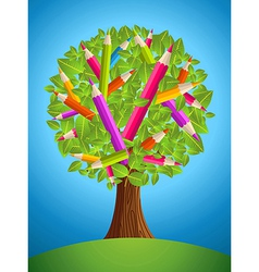 Cute pencil tree design vector image