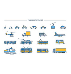 lineart icon set with ground transport aviation vector image vector image