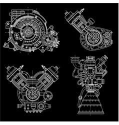 set of drawings of engines - motor vehicle vector image