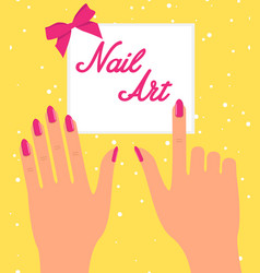 Woman hand with pink fingernails on silver vector